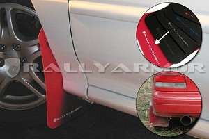 Rally Armor Mud Flaps Urethane - Red w/ White Logo Impreza 93-01